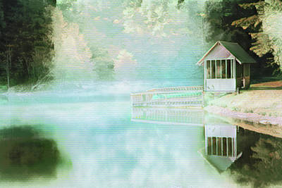 Photograph - Boathouse In The Early Morning Watercolors by Debra and Dave Vanderlaan