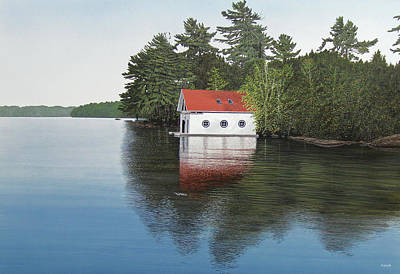 Boathouse Painting - Boathouse by Kenneth M  Kirsch