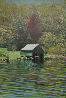 Boathouse On Langwater Pond Art Print
