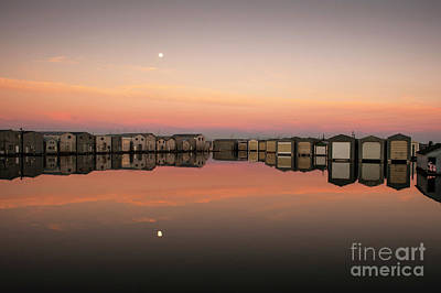 Photograph - Boathouse Reflections With Moon Setting by Jim Corwin