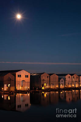 Photograph - Boathouse Reflections With Moonset by Jim Corwin