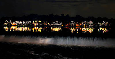 Boathouse Row Digital Art - Boathouse Row After Dark by Bill Cannon