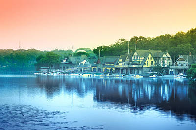 Row Boat Digital Art - Boathouse Row by Bill Cannon