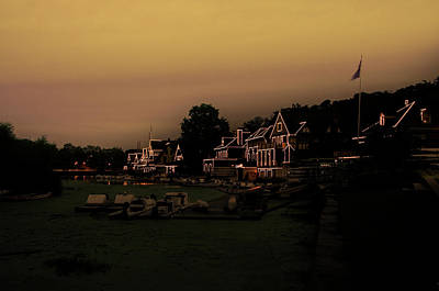 Art Print featuring the photograph Boathouse Row From The Lagoon Before Dawn by Bill Cannon