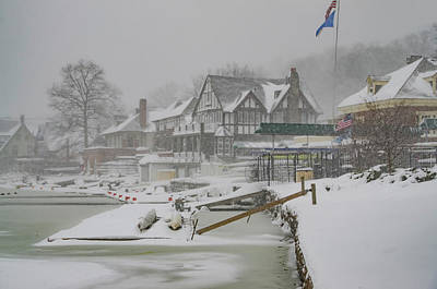 Rowing Crew Digital Art - Boathouse Row In A Snow Storm by Bill Cannon