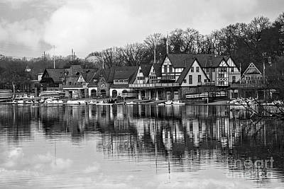 Kelly Drive Photograph - Boathouse Row In Black And White by Tom Gari Gallery-Three-Photography