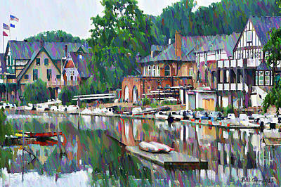 Watercolour Photograph - Boathouse Row In Philadelphia by Bill Cannon