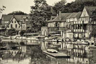 Boathouse Row In Sepia Print by Bill Cannon