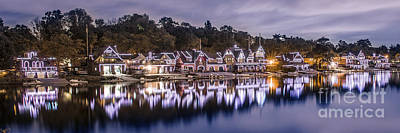 Photograph - Boathouse Row Night Blue by Stacey Granger