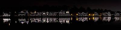 Winter Night Photograph - Boathouse Row Panorama - Philadelphia by Brendan Reals