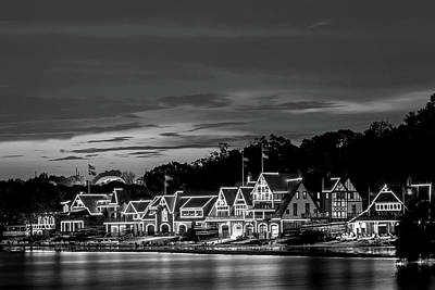 Historic Site Photograph - Boathouse Row Philadelphia Pa Night Black And White by Terry DeLuco