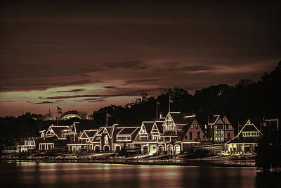 Boathouse Row Philadelphia Pa Night Retro Art Print