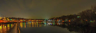 Row Boat Digital Art - Boathouse Rowfrom The Fairmount Dam - Panorama by Bill Cannon