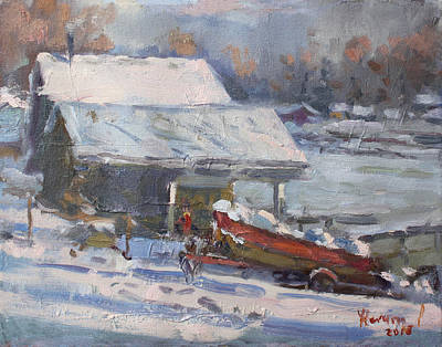 Frozen Painting - Boathouses Along Frozen Canal  by Ylli Haruni