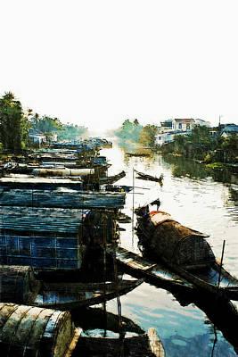 Boathouses In Vietnam Art Print