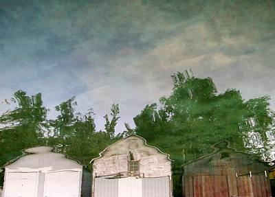 Trippy Photograph - Boathouses With Sky And Trees by Michelle Calkins