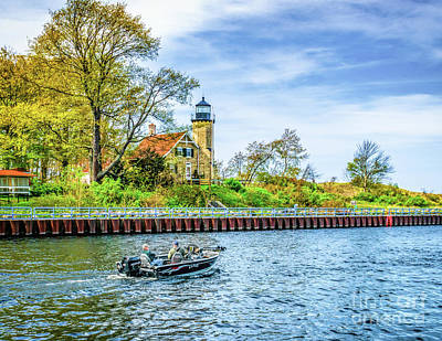 Photograph - Boating At White River Light by Nick Zelinsky