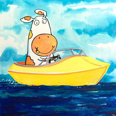 Water Ski Painting - Boating Cow by Scott Nelson