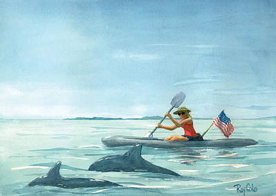 Ray Cole Painting - Boating Dolphin by Ray Cole