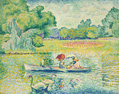 Reflecting Tree Painting - Boating In The Bois De Boulogne by Henri-Edmond Cross