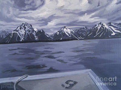 Art Print featuring the painting Boating Jenny Lake, Grand Tetons by Erin Fickert-Rowland