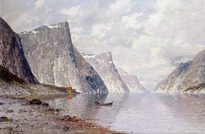Mountain Painting - Boating On A Norwegian Fjord by Johann II Jungblut