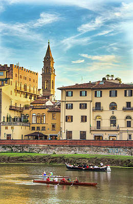 Photograph - Boating On Fiume Arno In Florence by Gary Slawsky