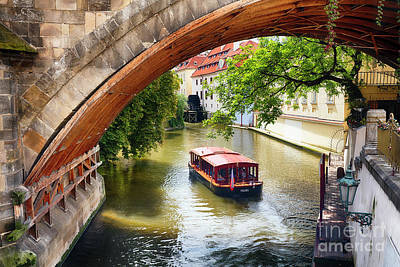 Boating On The Canal In Prague Art Print by George Oze
