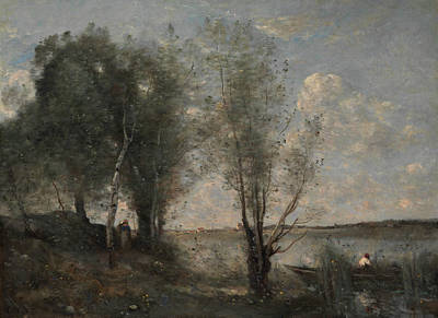 Painting - Boatman Among The Reeds by Jean-Baptiste-Camille Corot