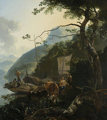 Woman On The River Painting - Boatmen Moored On The Shore Of An Italian Lake by Adam Pynacker