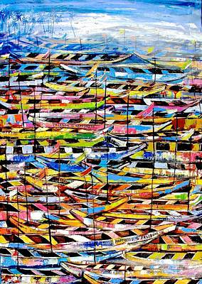Painting - Boats Abound by Appiah Ntiaw