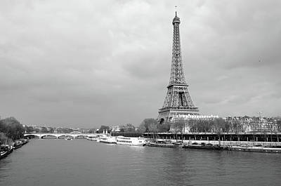 Photograph - Boats Along The Seine River Left And Right Banks With Riffel Tower Paris France Black And White by Shawn O'Brien