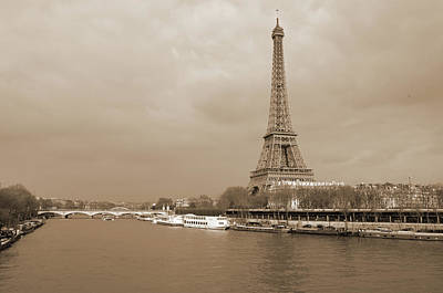 Photograph - Boats Along The Seine River Left And Right Banks With Riffel Tower Paris France Sepia by Shawn O'Brien