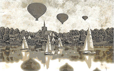 Digital Art -  Balloons Flying Over The Lake  by Fine Art By Andrew David