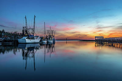 Photograph - Shem Creek Blue Hour, Mt. Pleasant Sc by Donnie Whitaker