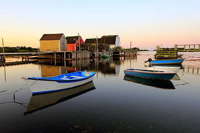 Photograph - Boats And Fish Shacks At Blue Rocks, Nova Scotia by Gary Corbett