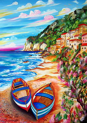 Painting - Boats And Fishermen Village by Roberto Gagliardi