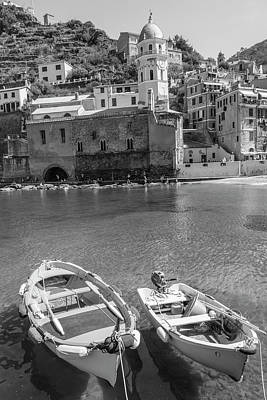 Photograph - Boats And Manarola Black And White  by John McGraw