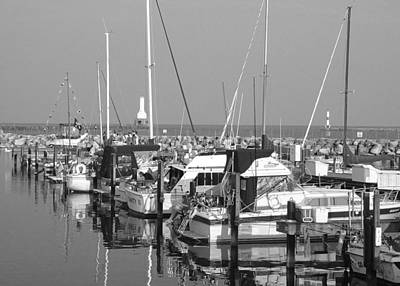 Photograph - Boats And Reflections B-w by Anita Burgermeister