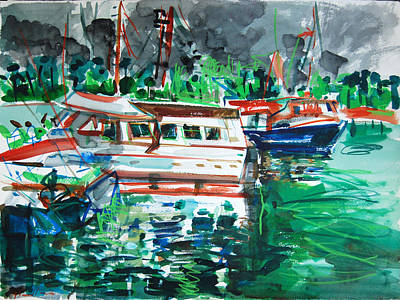 Painting - Boats And Reflections by Zolita Sverdlove