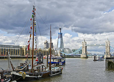 Renzo Piano Photograph - Boats And Shard And Tower Bridge by Gary Eason