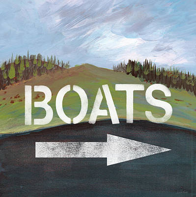 Boats- Art By Linda Woods Art Print by Linda Woods