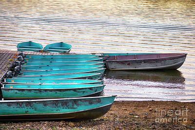 For Rent Photograph - Boats At A Jetty On A Lake At Sunset by George Oze