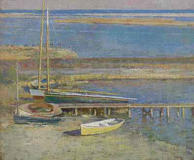 Painting - Boats At A Landing by Theodore Robinson