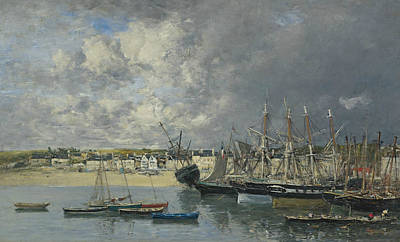 Ship Anchor Painting - Boats At Anchor In The Harbor, Portrieux by Eugene Boudin