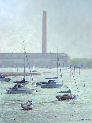 Painting - Boats At Fawley Hampshire by Martin Davey