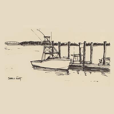 Drawing - Boats At Hilton Head by Sean McMenemy