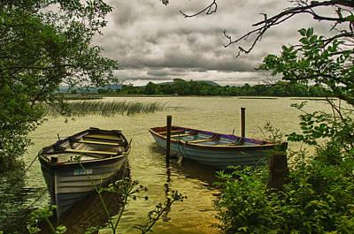 Boats At Holy Island County Clare Ireland Art Print by Joe Houghton