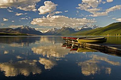Print featuring the photograph Boats At Lake Mcdonald by Gary Lengyel