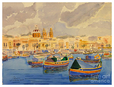 Painting - Boats At Marsaxlokk by Godwin Cassar
